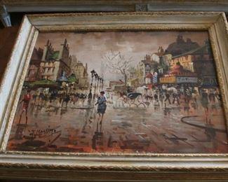 "vintage oil painting on canvas Paris street scene signed T. Massimo 20 1/2"" x 24 1/2"" - $395"