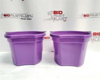 """4 Two (2) 8 Qt Flat back bucket, 8.5"""" tall. Made in USA Two (2) 8 Qt Flat back bucket, 8.5"""" tall. Made in USA"""