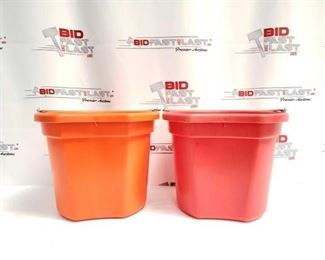 """7:  Two (2) 20 Qrt. Flat back bucket, 11"""" tall. Made in USA. Two (2) 20 Qrt. Flat back bucket, 11"""" tall. Made in USA."""