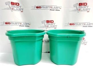 """6  Two (2) 20 Qrt. Flat back bucket, 11"""" tall. Made in USA. Two (2) 20 Qrt. Flat back bucket, 11"""" tall. Made in USA."""