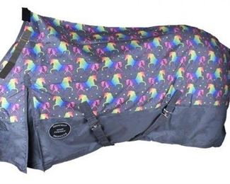 10:  Unicorn Print Perfect Turnout Blanket size 76 Brand New The Waterproof and Breathable Unicorn Print 1200 Denier Perfect Fit Turnout Blanket.