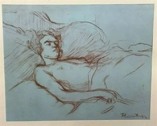 https://www.ebay.com/itm/124688488113CF7012T Henri de Toulouse - Lautrec Wood Block SKETCH of woman RESTING RED AND BLUE (16.75 X 12.75 IN) Framed Uship or Local PickupAuction