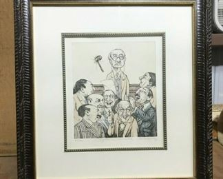 """https://www.ebay.com/itm/124688467382CF7010T CHARLES BRAGG """"OBJECTION OVERRULED"""" 69/300 (20 1/8 X 21 11/16 IN) Framed Lithograph Uship or Local PickupAuction"""