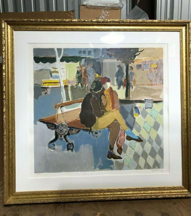 "https://www.ebay.com/itm/114773443021CF7009B Itzchak Tarkay ""ON THE BENCH"" Framed Lithograph Uship or Local PickupAuction"
