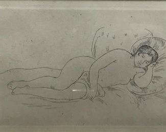 """https://www.ebay.com/itm/114773513558CF7014T RENOIR """"FEMME NU COUCHEE"""" ETCHING (21 3/8 X 19 3/8 IN)  Framed Uship or Local PickupAuction"""