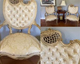 Pair Cream/White Upholstered French Style Arm Chairs