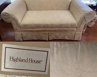 Highland House Upholstered Cream/White Love Seat
