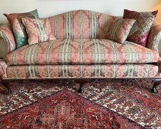 Chippendale clawfoot sofa