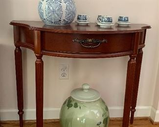 Mahogany demilune table and blue & white wares