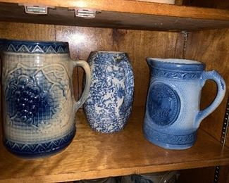 Salt glazed blue & white stoneware