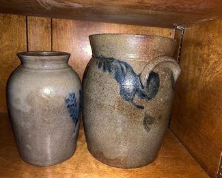 Cobalt decorated salt glaze stoneware crocks