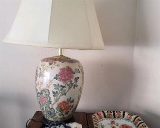 "Porcelain lamp & rare - Losol Ware Keeling & Co Ltd ""Shanghai"" cheese  dish & fruit dish"