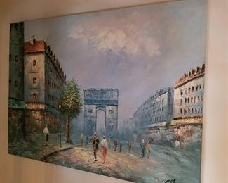 Signed oil on canvas, Impressionist style. Paris street scene