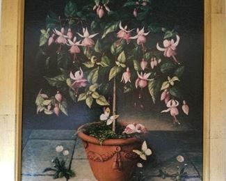 Framed floral still life print