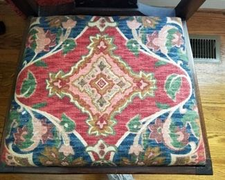 Chair seat showing upholstery fabric