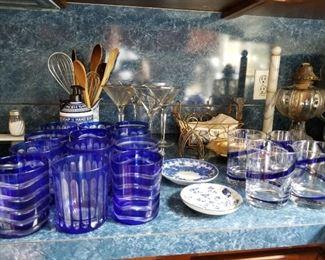 Assorted cobalt/clear hand blown glassware
