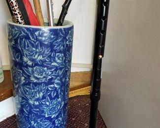 Blue & white umbrella stand