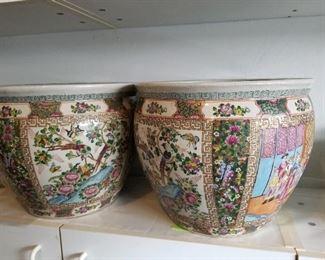 Rose Medallion fish bowls/planters