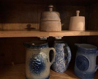 Butter prints & blue & white stoneware, salt glaze