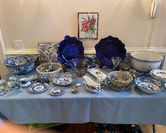 Lots of blue & white pottery, porcelain, glassware