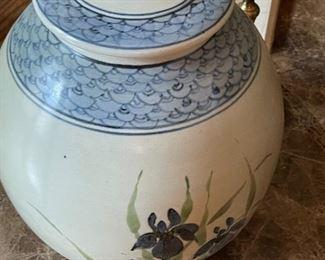 Large stoneware jar/lid. Hand painted