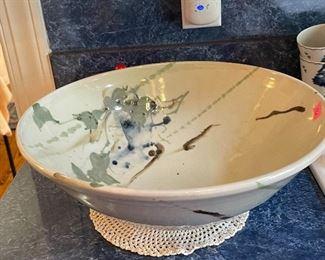large stoneware bowl, hand made