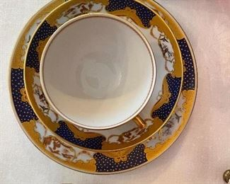 """Mottahedeh cup/saucer/bread & butter plate - """"Golden Butterfly"""""""