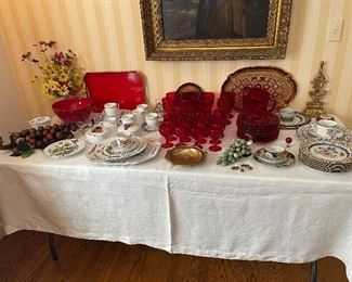 Mottahedeh china, ruby glassware, more