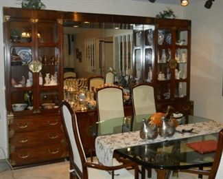 Henredon wall unit and chairs, dining table