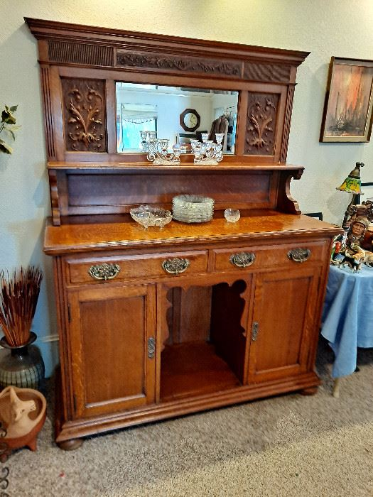 Antique Sideboard With Carved Topper