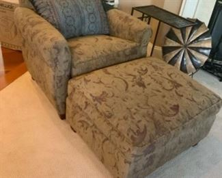 Fabric Single Seater with Ottoman