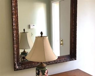 Mahogany carved wood mirror, vintage glass & brass lamp