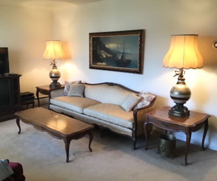 Vintage Sofa, Coffee Table, Pair of End Tables and Pair of Hollywood Regency Lamps