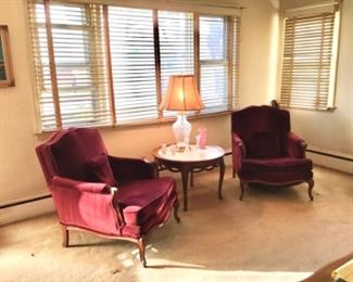 Pair Chairs, Brandt Marble Top Table, Crystal Lamp