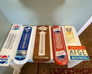 Vintage advertisement thermometers