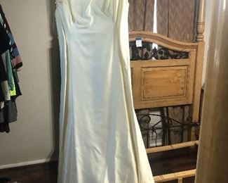 Wedding gown from 1967. Very stylish, beautiful fabric.