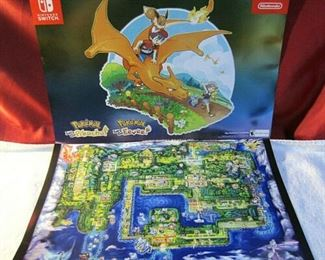 Est 50 Pokemon Nintendo Switch Let's Go Pikachu Eevee 2 Sided Promo Poster & Map