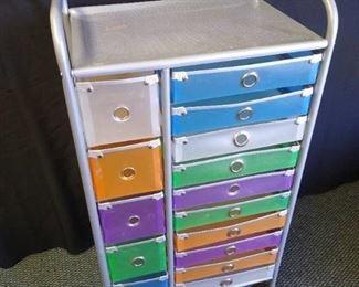 "15 drawer metal hobby cart - 36 1/2"" H X 20"" W X 15"" D"