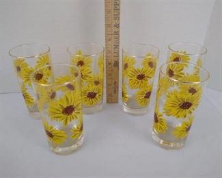 """6 sunflower themed glasses 5 1/2"""" H"""