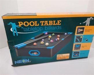 Tabletop billards pool table
