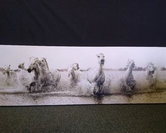 """Horses running in water hanging wall art - 18"""" H X 53"""" W"""