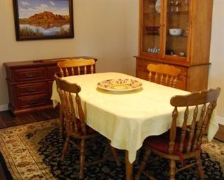 AREA RUG, DINETTE SET, CHINA CABINET, BUFFET (CENTER PLATTER AND ART ON BACK WALL ARE NOT PART OF SALE - FOR DISPLAY PURPOSES ONLY)