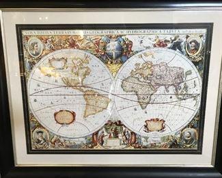 "Framed World Globe Size 46"" x 37"""