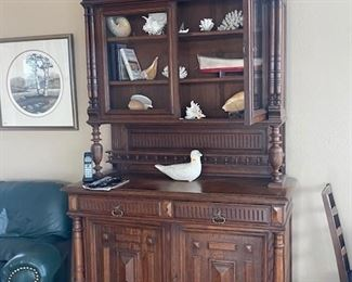 1800's empire period, hunter's cabinet with glass doors