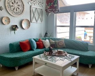 Mid Century Sofa, Coastal coffee table ( lamp is not for sale it stays with the house)
