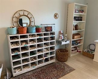 baskets ( one full of crabs and shells), rattan mirror is sold