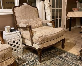 Bergere elegant chairs-two @$550 each. Valued at $1400 each with the fine hi-end fabric . Carpet CARNAVAL BEST. 6x10. Lt. Green $200