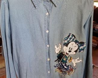 Vintage Minnie Mouse chambray ladies blouse