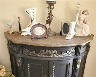 Curved front marble top entry table