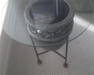"""Metal plant holder measures 24"""" tall and glass top is 20"""" round.  Presale $75"""